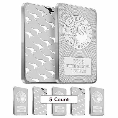 SPECIAL PRICE!!!   FIVE (5) 1 oz. Perth Mint Kangaroo .9999 .999 Silver bars