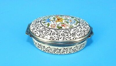 Vtg HTF Halcyon Days Enamel BMP Hinged Flower Hull Grundy Collection Trinket Box
