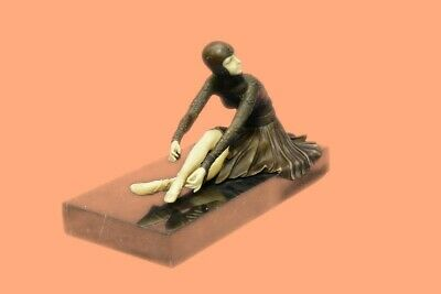 LOVELY 1920`s DECO NOUVEAU DANCER SIGNED CHIPARUS PURE HOTCAST BRONZE STATUE