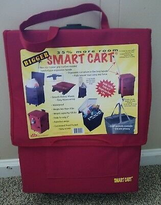 Bigger Smart Cart Wheeled Foldable Cart Canvas Red dbest products NWT