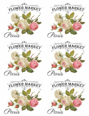 Vintage French Advertising Labels Roses Transfers Flower Market Decals FL522B