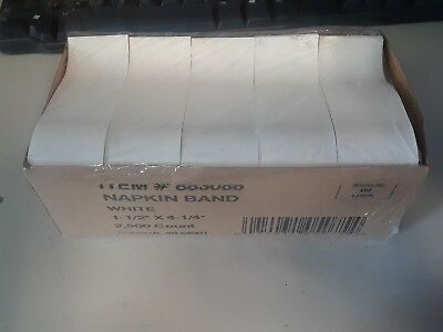 "2,500 Hoffmaster 883088  White Paper Napkin Bands ~ 1.5"" x 4.25"""