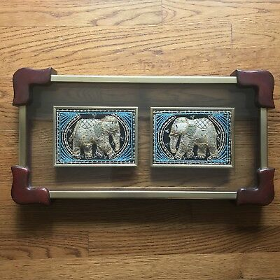 Wall Art Elephants Thai Vintage Antique Tapestry Glass Wood Frame