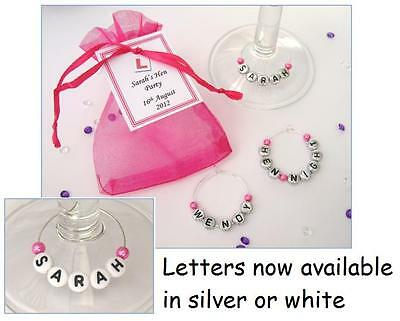 Personalised Hen Party/Hen Night Favours - Name Wine Glass Charm