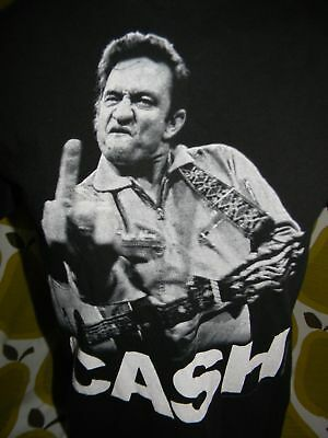 JOHNNY CASH black t shirt middle finger men's Medium country folk music