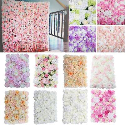 2x Silk Hydrangea Rose Flower Wall Panel Home Wedding Backdrop DIY Decor