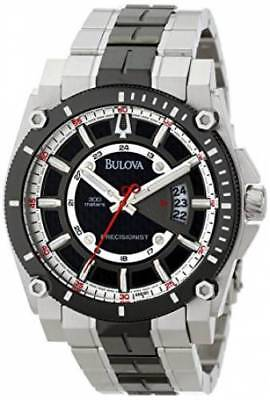 Bulova 98B180 Men's Precisionist Gray Dial Date Black-Tone Stainless Steel Watch