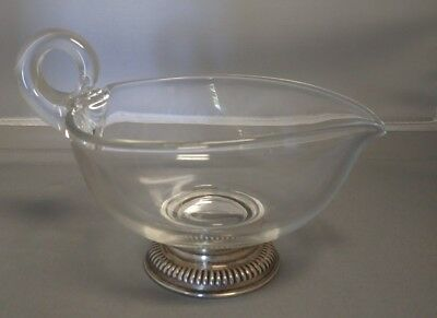 Sterling Silver Footed Glass Gravy Boat