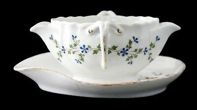 Antique French Porcelain Gravy Boat and Saucer. Separates Fat & Lean