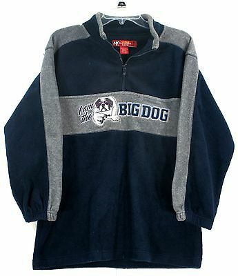 Big Dogs Kids 1/4 Zip Fleece Pullover Sweater Navy Blue and Gray Size 16/18