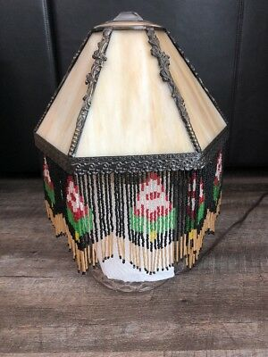 Vintage Slag Glass Lamp Shade With Hanging Beads