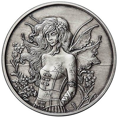 Amy Brown Collection - Wallflower Fairy 1 oz .999 Silver Antiqued Finish Round