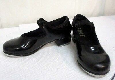 Girls Size 9.5 Bloch Black Patent Leather Elastic Closure Tap Shoes