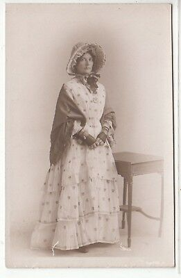 "RPPC - Studio Pose - Woman in ""Fancy Dress to Celebrate Armistice"" - WWI 1918"