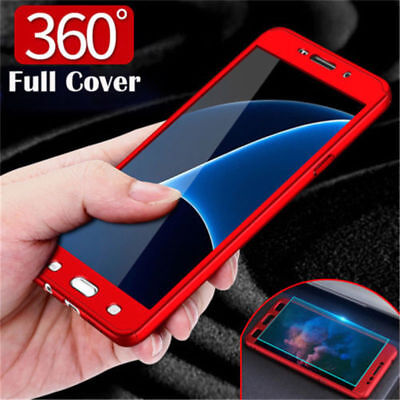 360° Full Cover Hybrid Slim Case + Tempered Glass For Samsung J3 J5 J7 2016 2017