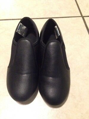 Dance Tap Shoes Revolution Dance Wear Black, No Ties, Slip On, Size 2 AD 531