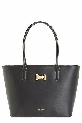 d324be8749992 Ted Baker London Curved Bow Small Leather Zip Top Tote Bag Purse  225 Black