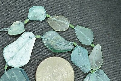 Ancient Roman Glass Beads 1 Medium Strand Aqua And Green 100 -200 Bc 868
