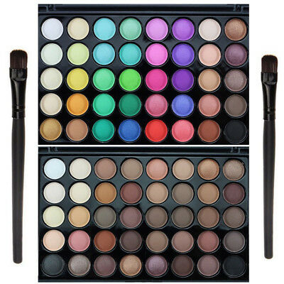 Pro 40 Colors Eyeshadow Matte Shimmer Eye Shadow Palette Cosmetic Makeup + Brush