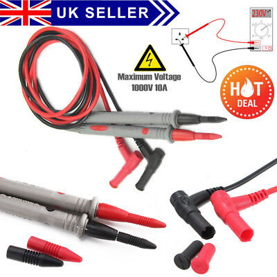 New Best Quality 10A Digital Multimeter Test Leads Probes Volt Meters Cable UK
