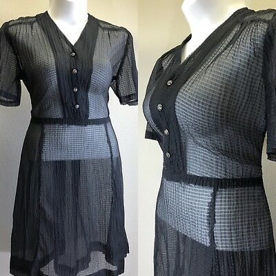 7e46165e830 Vintage 1940s Plus Size Dress Rockabilly INKY Vixen Sheer PinUp Celluloid  XXL