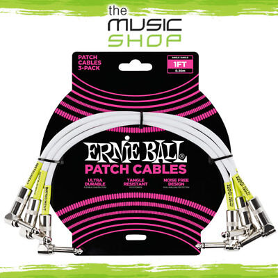 New Ernie Ball 1ft Angle/Angle White Guitar Patch Cable (3 Pack) - 6055