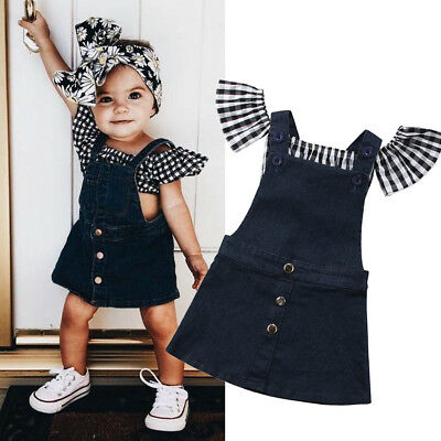 Summer Toddler Kids Baby Girl Plaid Tops T-shirt Demin Strap Dress 2Pcs Outfit