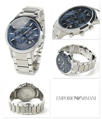 EMPORIO ARMANI Chronograph Navy Blue Dial Stainless Steel Men's Watch AR2448