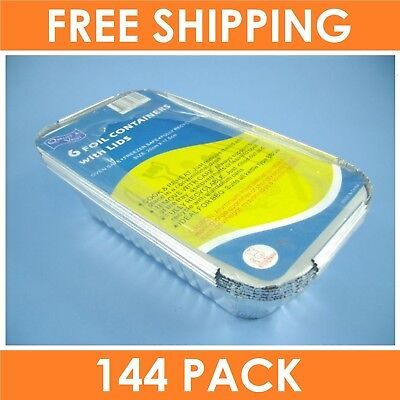 144 x FOIL CONTAINER LID 200x115mm Catering Take Away Food Trays BBQ Disposable