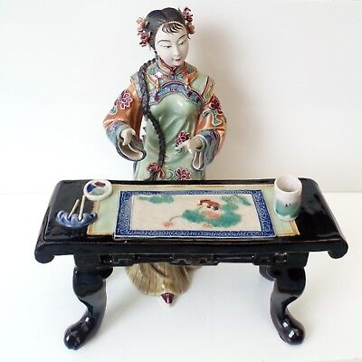 Shiwan Chinese Female Figurine with table, Handcrafted.