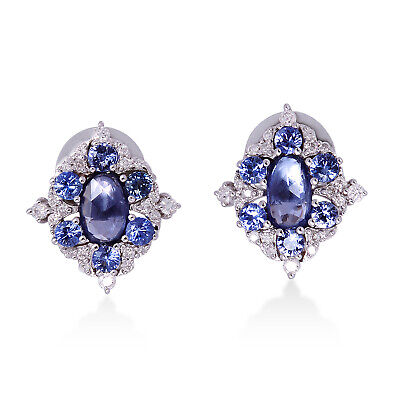 2.1ct Blue Sapphire Pave Diamond 18k Solid White Gold Stud Earrings Gift Jewelry