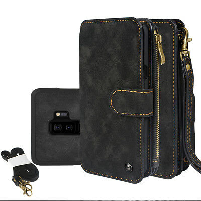 For Samsung S9 S9 Plus Genuine Leather Zipper Wallet Multifunction Cover Cases
