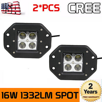 2X 3inch 24W Square Cree LED Flood Cube Work Lighting Pods Truck Offroad 3X3 SUV