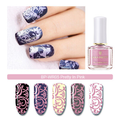 BORN PRETTY 6ml Nail Stamping Polish  Pearl Pure Pink Nail Art Printing Varnish