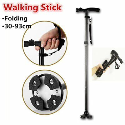 New Aluminum Metal Walking Stick Easy Adjustable Folding Collapsible Travel Cane