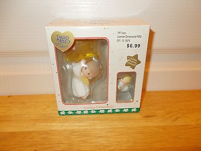 PRECIOUS MOMENTS Holiday Ornaments: Pair of ANGELS with Star and Trumpet 2001