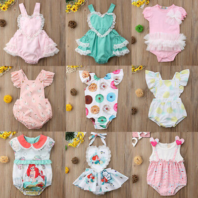 Cute Newborn Infant Baby Girl Romper Jumpsuit Bodysuit Outfit Sunsuit Clothes