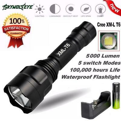 90000 Lumens Zoomable XM-L LED 5 Mode USB Outdoor Torch Flashlight Lamp