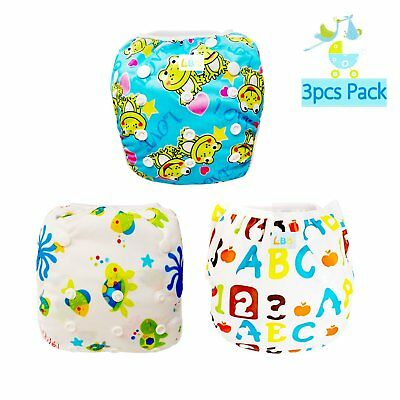 3 Pack Reusable Adjustable Baby Swim Diapers Fit babies 0-18 Months