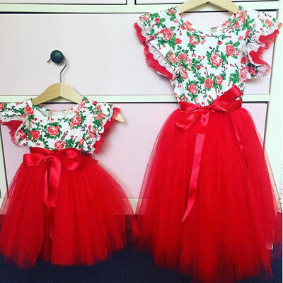 Christmas Baby Girls Toodler Kids Xmas Lace Romper Dress Party Dresses Gift 0-4T