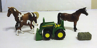 3 Schleich horses 2 Pintos Mom & Baby 1 Bay Stallion Plus Tactor and Bale of Hay