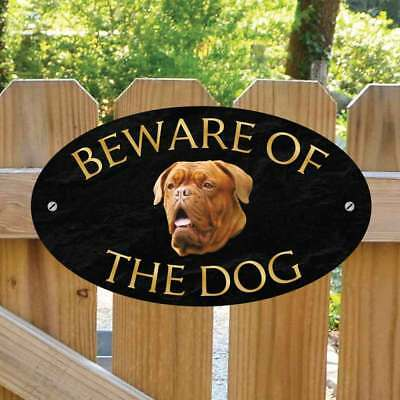 Beware of the French Mastiff Gate Sign, Outdoor Beware of the Dog Gate Plaque