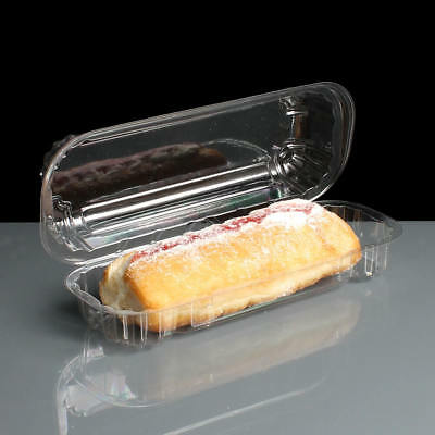 Clear Single Eclair / Cake Slice Box Container  Hinged   QTY 250