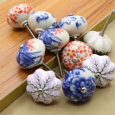 Ceramic Pull Knobs Cabinet Cupboard Drawer Dresser Handle Pull Hand Painted