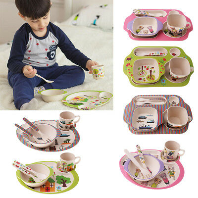 5Pcs/set Bamboo Fiber Baby Plate Bowl Cup Fork Spoon Baby Kids Feeding Tableware