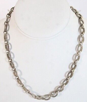 """Sterling Silver 925 Fancy Heavy Oval Rolo Link Toggle Clasp 18"""" Necklace 50g"""