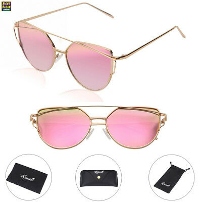 Mannli Lunette de Soleil Polarisé Femme Œil de Chat Mode Twin-Beams Metallique Verres Fashion Cateye Women Sunglasses 20xGJ
