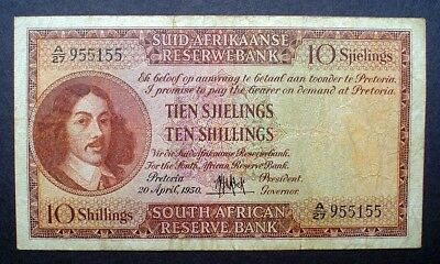 SOUTH AFRICA ~ 10 SHILLINGS 1950 f.