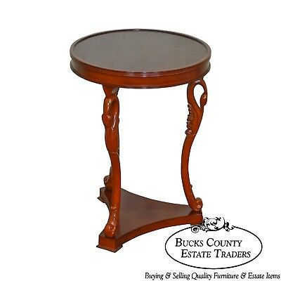 French Empire Style Round Swan Neck Side Table by Bombay