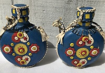 "VINTAGE Pair of Handcrafted ""NATIVE AMERICAN"" Leather Canteens/Flasks ~ FOLK ART"